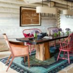 Boho cozy Colorado Cabin by Thom Filicia - dining room
