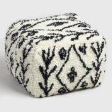 Black and White Shag Wool Pouf