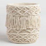 Creme Macrame Fabric Tote Basket