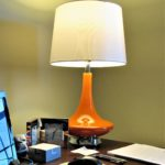 An Easy Way to Hang a Small Rug & More ('Mad Men' Office/Guest Room Redo - 4) - retro desk lamp closeup