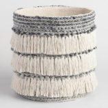 Gray and White Camila Tote Basket