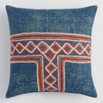 Indigo Embroidered Linen Throw Pillow