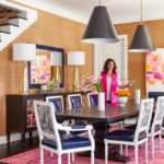 Bold Waves of Pink Make Texas Home Pop - dining room